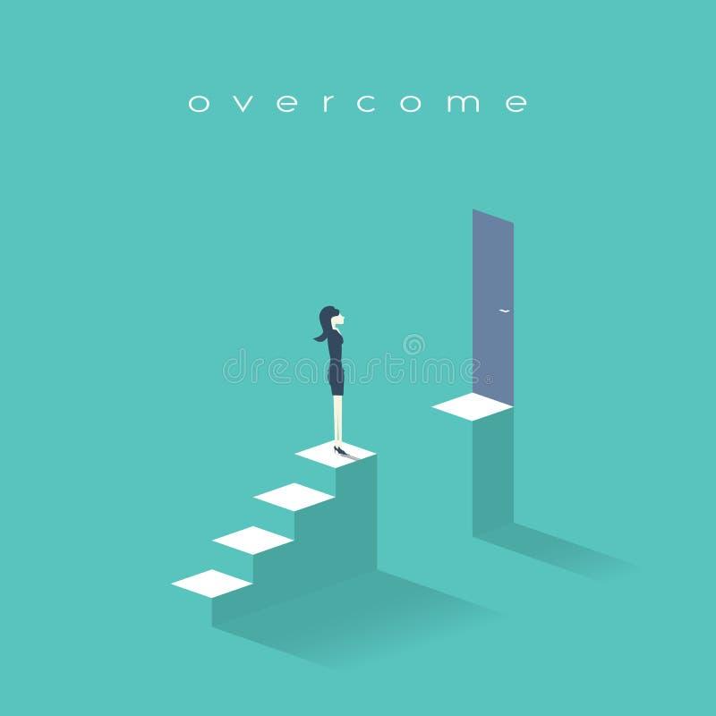 站立在台阶顶部的女商人 标志女实业家挑战、障碍和障碍在事业,公司 向量例证