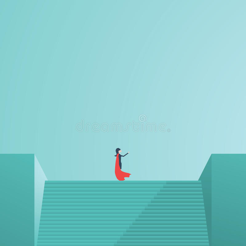 站立在台阶顶部的女实业家超级英雄指向在方向 企业视觉,领导,力量的标志 皇族释放例证