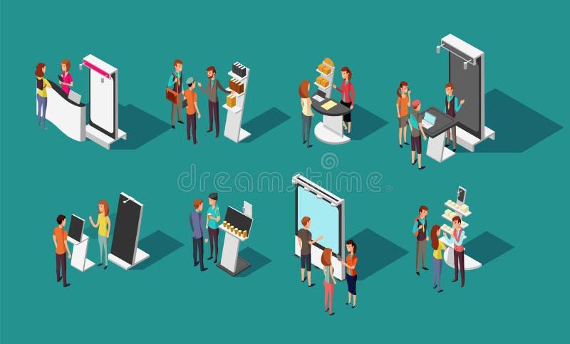 站立在商展增进停留演出地的人们导航3d等量集合 库存例证