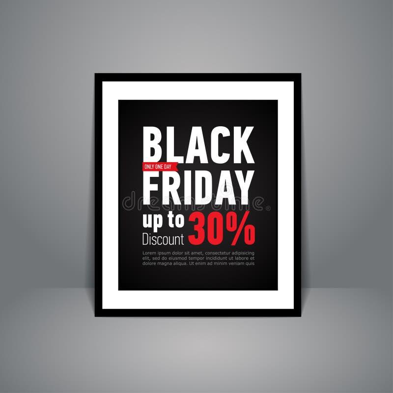 站立在地板上的黑星期五销售海报 在黑框架的时髦销售海报 库存例证