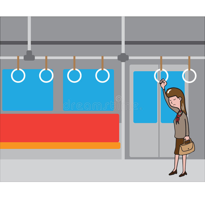 站立在地铁的运输妇女 皇族释放例证