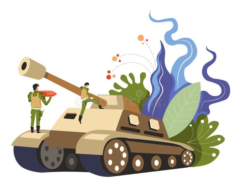 站立在坦克传染媒介的制服的军人 库存例证