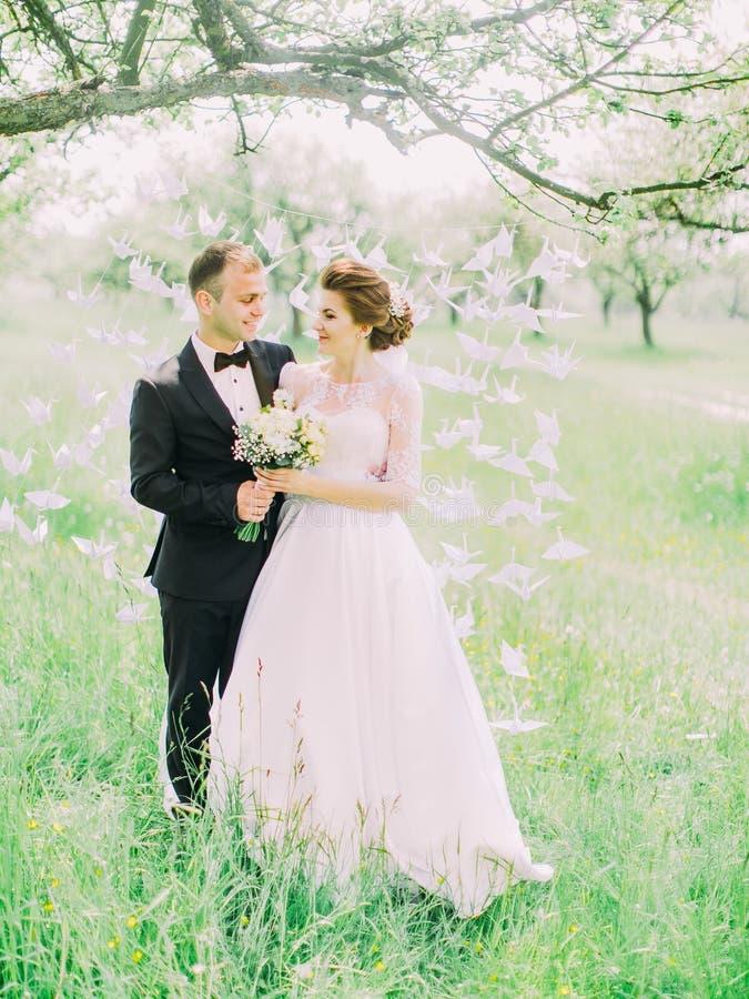 站立在垂悬在树的纸天鹅的前面的可爱的垂直的观点的愉快的新婚佳偶 库存照片