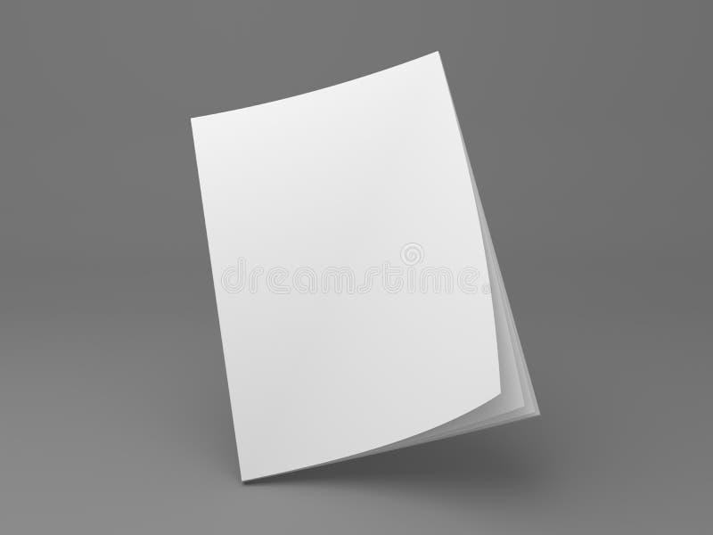 站立在壁角3D例证大模型的空白的杂志 皇族释放例证