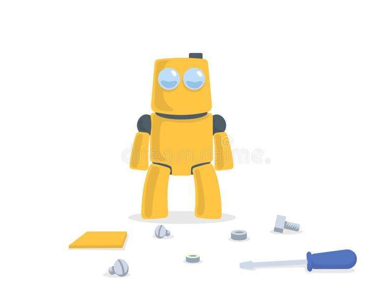 站立在备件和工具前面的逗人喜爱的黄色机器人 背景漫画人物厚颜无耻的逗人喜爱的狗愉快的题头查出微笑白色 平的传染媒介例证 隔绝  皇族释放例证