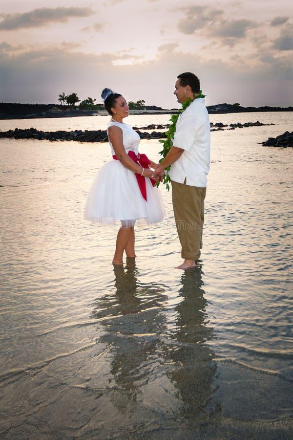 在黄昏的新娘和新郎 图库摄影