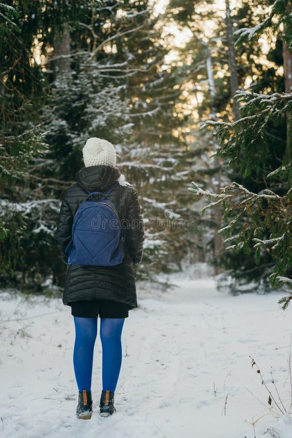 站立在多雪的森林里的少妇 免版税库存图片
