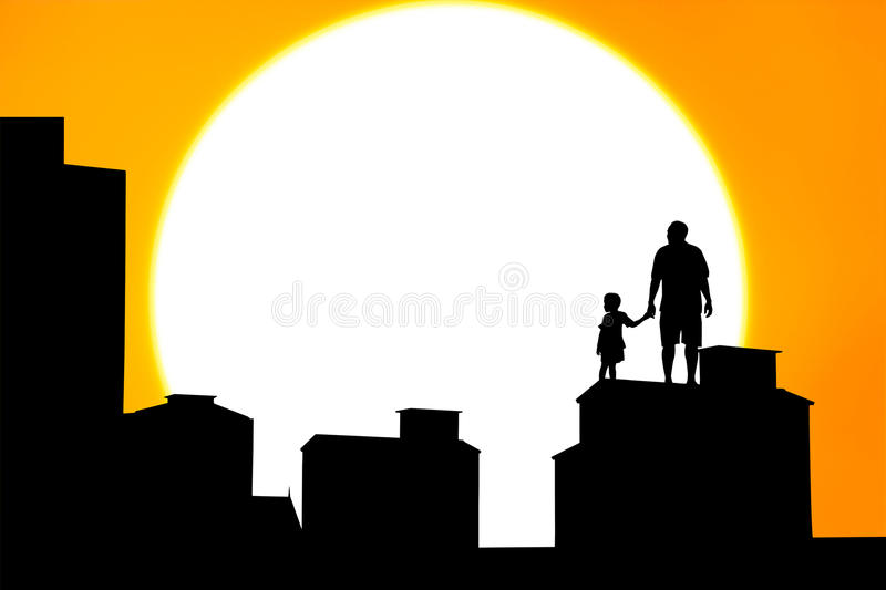 站立在大厦的父亲和儿子剪影  库存图片