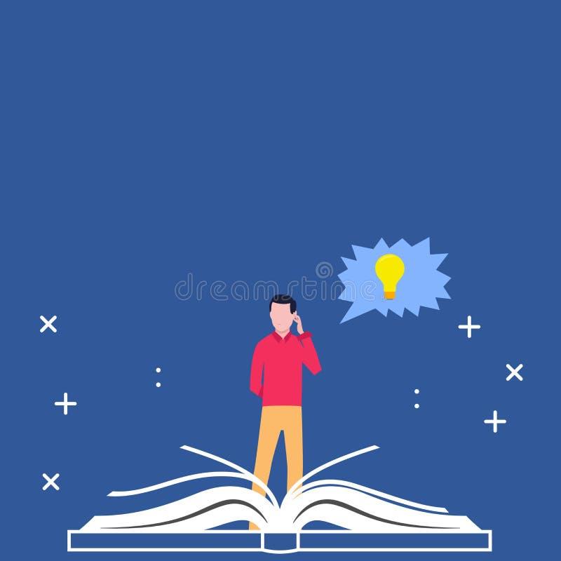 站立在大开放书和手后的人在他的头 与电灯泡里面想法象的接合的讲话泡影 创造性 向量例证