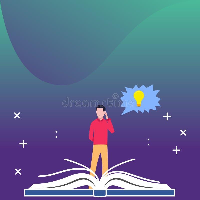 站立在大开放书和手后的人在他的头 与电灯泡里面想法象的接合的讲话泡影 创造性 库存例证