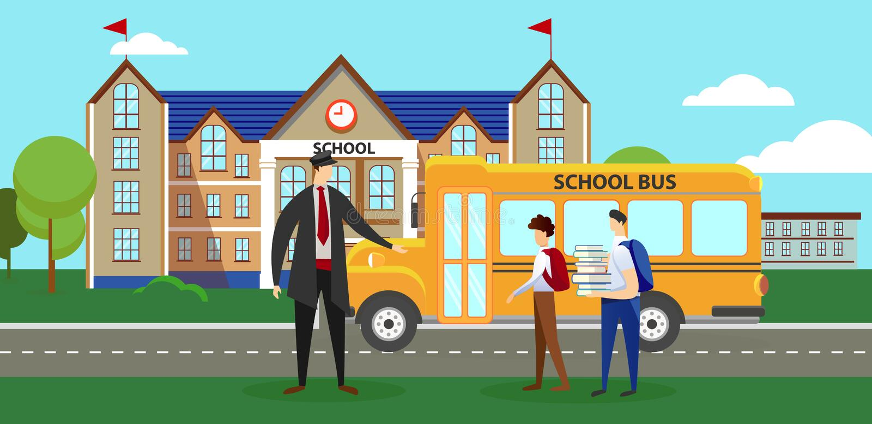 站立在学校班车附近的司机和男小学生 库存例证