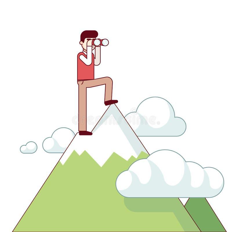 站立在山上面的成功的商人 向量例证