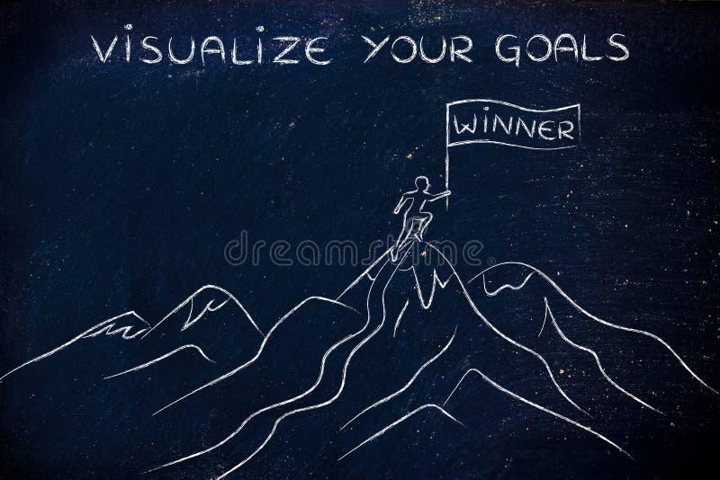 站立在山顶部的优胜者,形象化您的目标 图库摄影