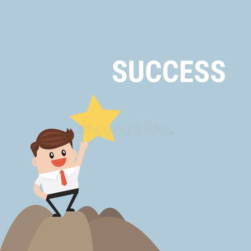 站立在山顶部的成功的商人 向量例证