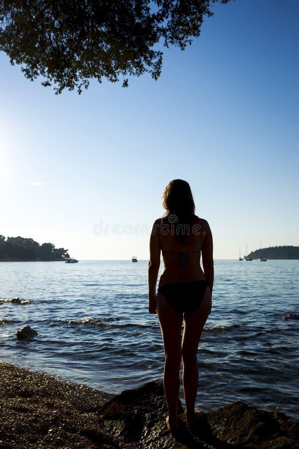 站立在岸的妇女 库存图片
