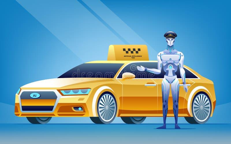 站立在巧妙的自治汽车出租汽车附近的人的靠机械装置维持生命的人 皇族释放例证