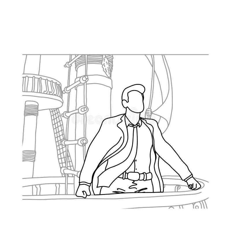 站立在帆船传染媒介illust的前面的商人 向量例证
