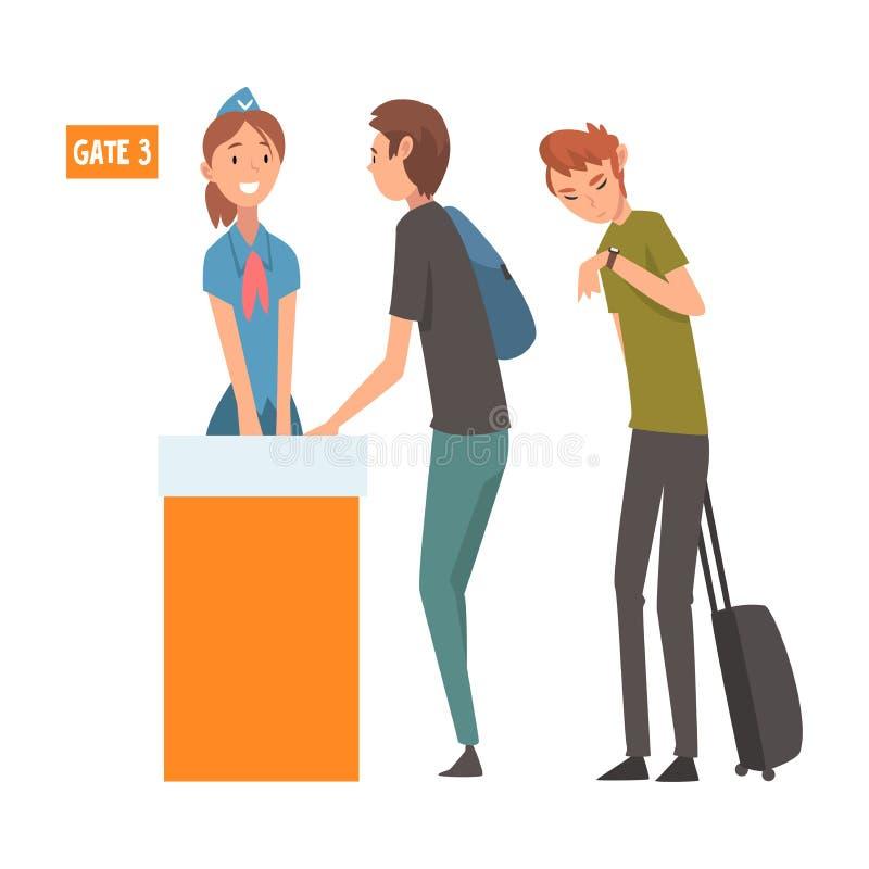 站立在带着手提箱的队列的人们检查的在机场注册传染媒介例证 皇族释放例证