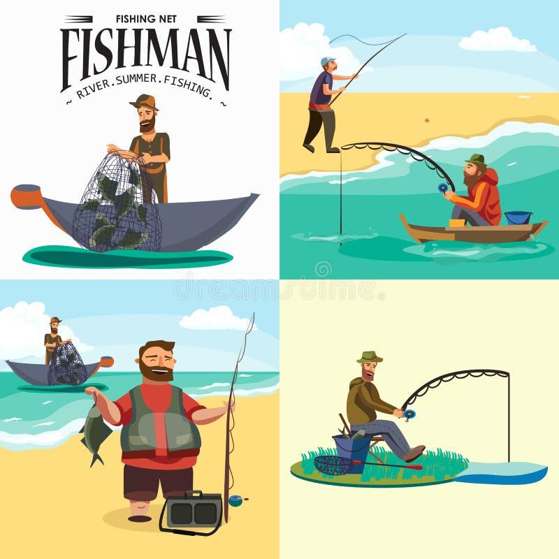 站立在帽子和拉扯网的动画片渔夫在小船在海外面,愉快的fishman举行鱼捕获和旋转vecor 向量例证