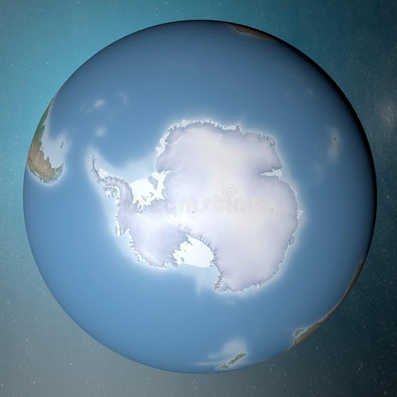 站立在干净的空间南极洲的地球 皇族释放例证