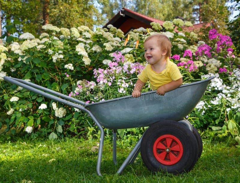 站立在庭院手推车的小男孩 免版税库存图片