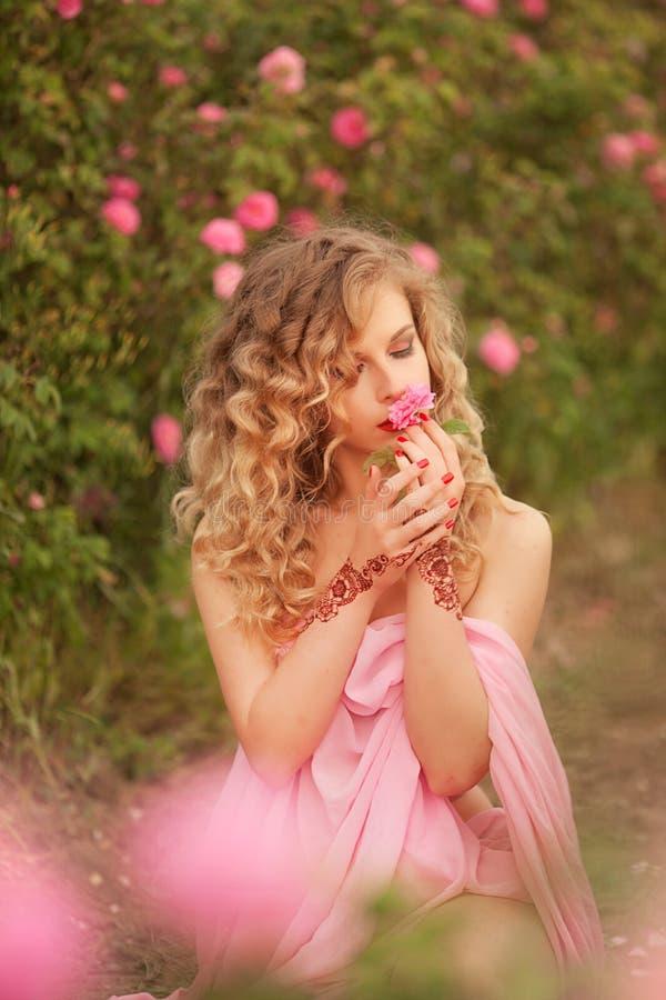 站立在庭院玫瑰的一件桃红色礼服的美丽的性感的女孩 库存照片