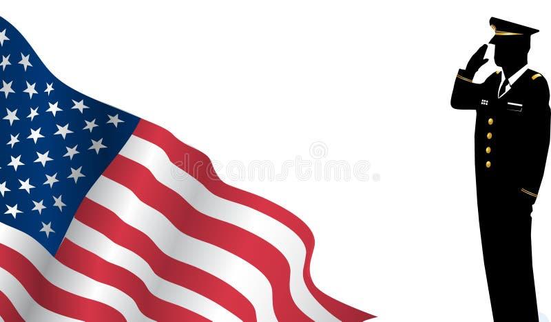 站立在我们前面旗子向致敬的Solider 向量例证