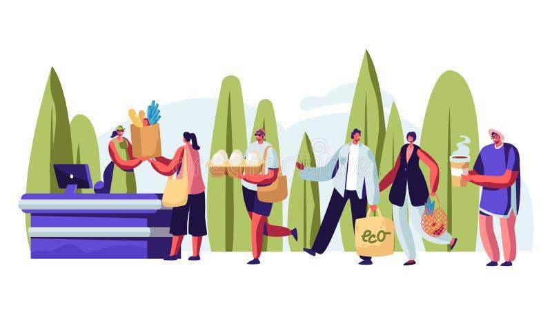 站立在手上参观露天商店的人们在与可再用包装的队列 男性和女性角色使用Eco包装 库存例证