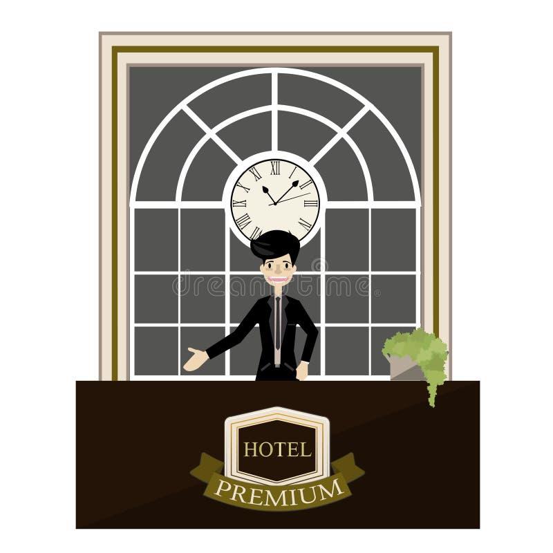 站立在旅馆豪华总台动画片的接待员 向量 库存例证