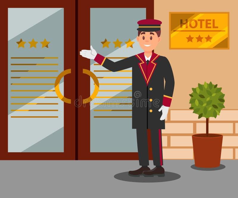 站立在旅馆进口前面的快乐的门房 制服的年轻微笑的人 平的传染媒介设计 皇族释放例证