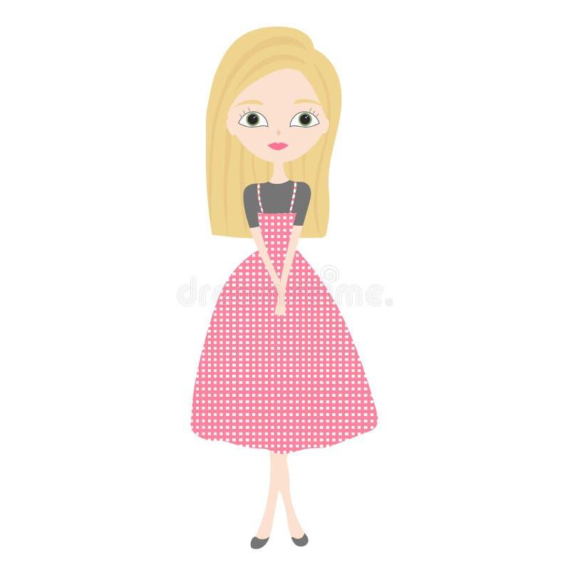 站立在时尚桃红色礼服的美丽的逗人喜爱的白肤金发的女孩 库存例证