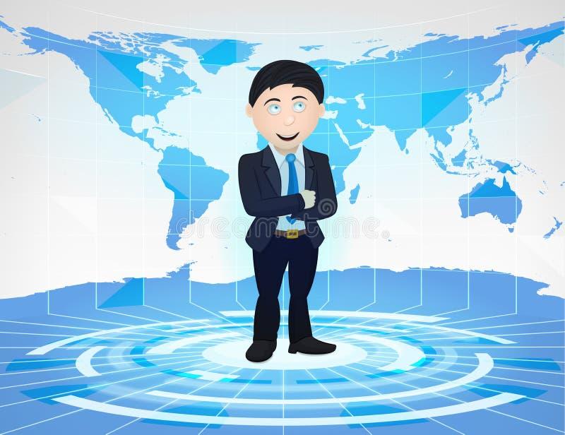 站立在有世界地图的蓝色真正演播室的商人 皇族释放例证