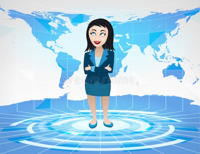 站立在有世界地图的蓝色真正演播室的女商人 向量例证