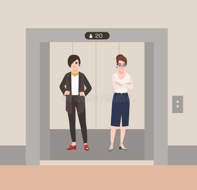 站立在有开门的电梯的对恼怒的年轻女人 等待在推力里面的冲突的脾气坏的同事 向量例证