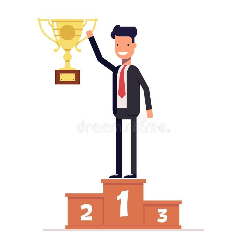 站立在有得奖的杯子的优胜者指挥台的商人或经理在他的手上 传染媒介,例证EPS10 皇族释放例证