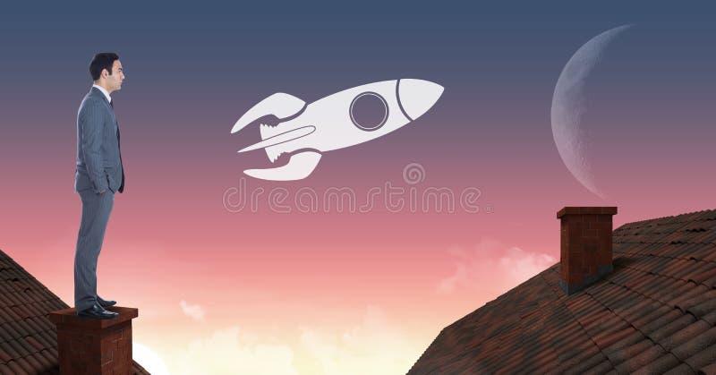 站立在有烟囱和月亮天空的屋顶的火箭队象和商人 向量例证