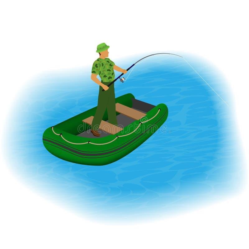 站立在有钓鱼竿和被舒展的线的一条可膨胀的小船的渔夫 人室外活动 向量例证