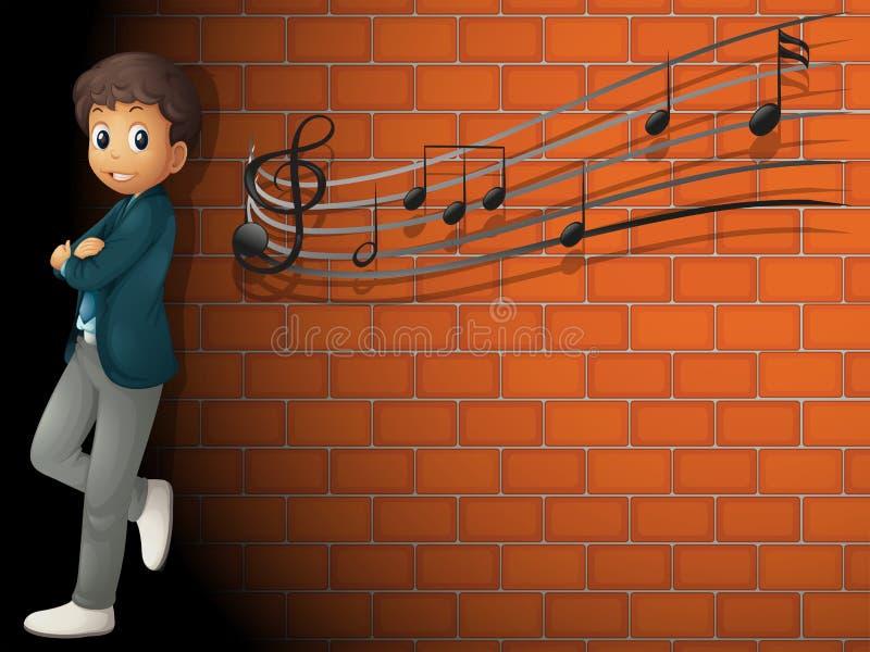 站立在有音符的墙壁附近的男孩 库存例证