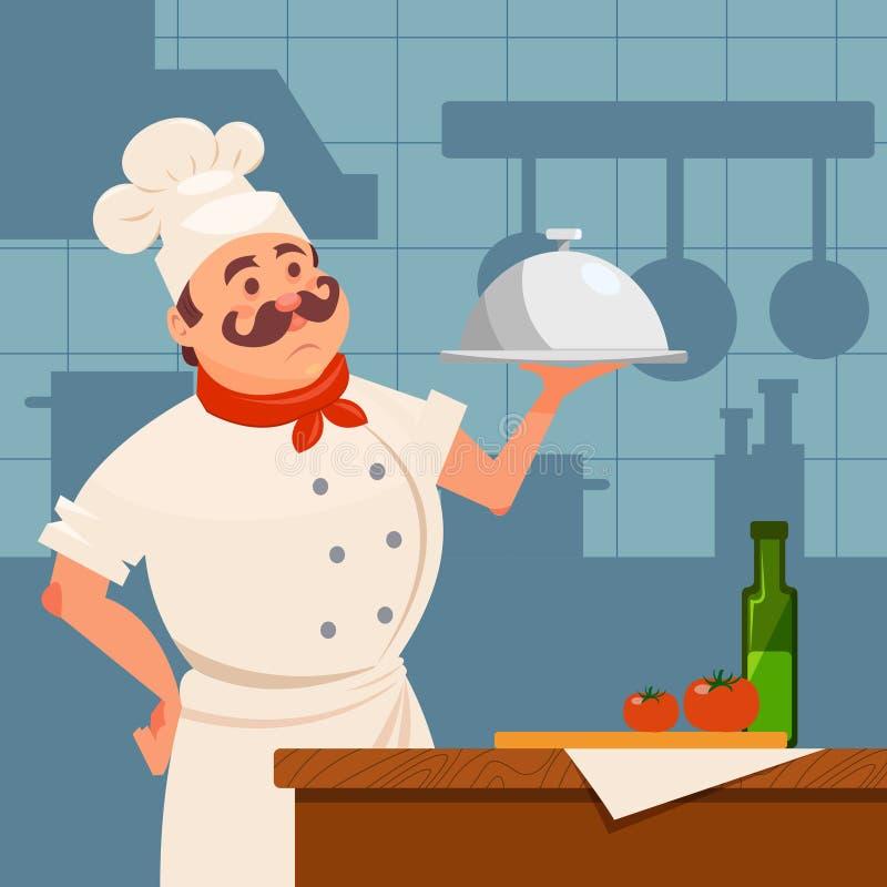 站立在木桌附近和拿着银色盘的专业餐馆厨师 与家具的厨房内部和 向量例证
