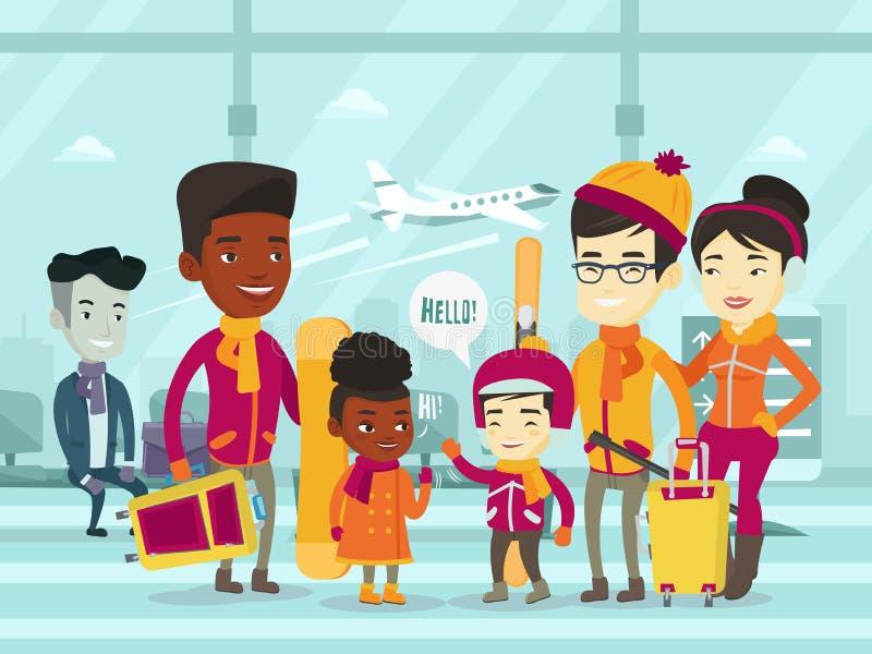 站立在机场的不同种族的游人在冬天 皇族释放例证
