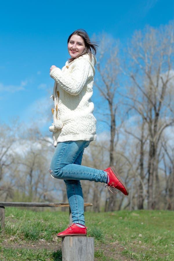 站立在树桩的微笑的女孩 免版税库存照片