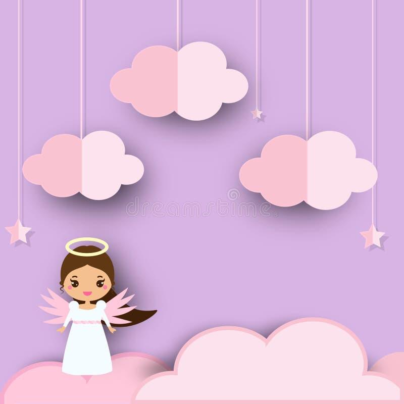 站立在桃红色云彩的逗人喜爱的天使在紫罗兰色天堂 在纸裁减的背景,纸孩子的工艺样式和托儿所 向量例证