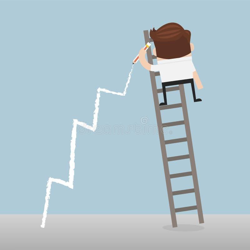 站立在梯子图画在墙壁上的成长曲线图的商人 皇族释放例证