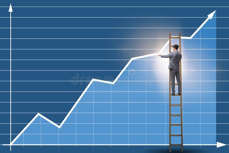站立在梯子的商人图画图 库存照片