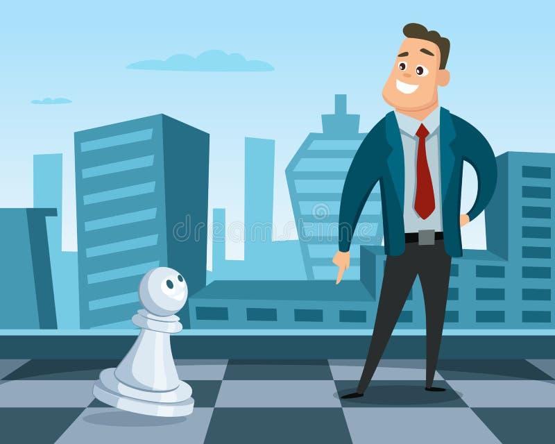 站立在棋盘的商人 经营战略的概念例证 领导和优秀 皇族释放例证