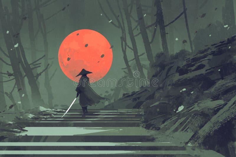 站立在楼梯的武士在有红色月亮的夜森林里在背景 向量例证