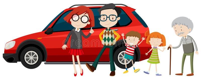 站立在汽车前面的家庭成员 皇族释放例证