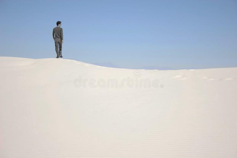 站立在沙丘的一个人 库存图片