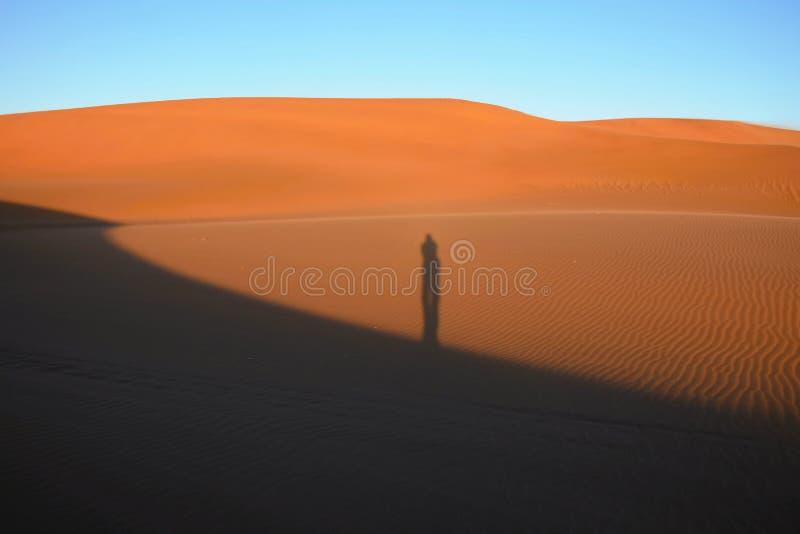站立在沙丘的人的阴影在沙漠 图库摄影