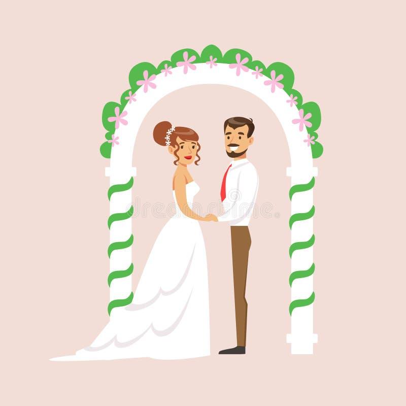站立在法坛的曲拱的新婚佳偶在婚礼聚会场面 库存例证